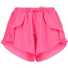 Pink Frill Trim Beach Shorts (280 MXN) ❤ liked on Polyvore featuring shorts, bottoms and beach shorts