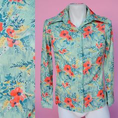Green 1970s Western Hippie Shirt // 70s Floral Unisex Men's Oxford Button Up Top Size Small by RIPandROSE on Etsy