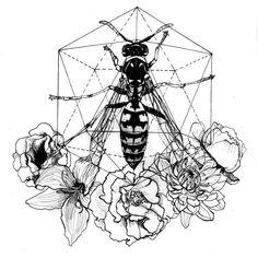 Wasp and flowers Sacred geometry   #sacredgeometry