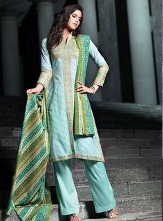 Stitched Dress Available Online at Fashion Souk - Shop Now at ; http://www.fashionsouk.com/index.php/designer/alkaram-studio/akl-2272-ornate-aqua.html