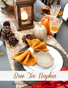 Love this fall table + bow tie napkin!