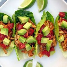 Paleo Chicken Tacos.... Look great but the recipe is too long lol... I'm thinking shredded chicken with taco seasoning then sliced avocados and tomatoes.
