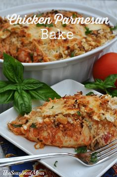 Chicken Parm Bake: chicken smothered in crispy garlic crouton crumbs, tomato sauce, basil, and cheese is sure to please every member of your family!