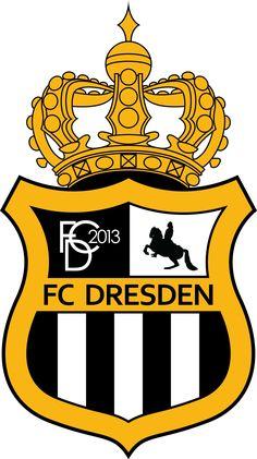 FC Dresden of Germany crest. World Football, Soccer World, Sport Football, Soccer Teams, Dresden, Football Logo Design, International Football, Sports Clubs, European Football