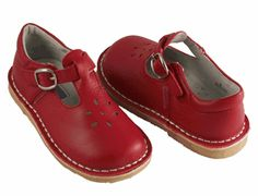 L'Amour T-Strap Red Leather Shoes.