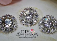 5 pcs Crystal Button Embellishment  Metal by DIYBoutiqueSupply, $5.25