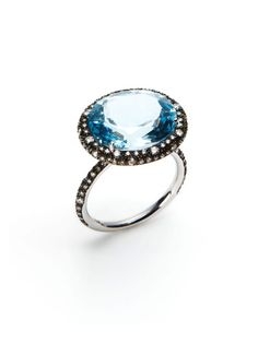 Oval Blue Topaz & Diamond Ring by Vendoro on Gilt.com