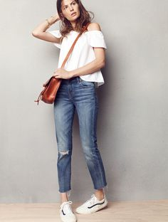 madewell alley straight crop jeans worn with the off-the-shoulder top, savannah saddlebag + vans® old skool lace-up sneakers.