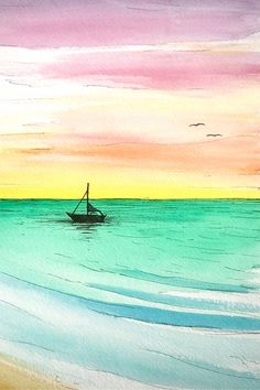 "Skye Ravy Painting Rainbow Sunrise Over Calm Ocean Original Watercolor 11""x15"""