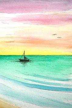 "Skye Ravy Painting Rainbow Sunrise Over Calm Ocean Original Watercolor 11""x15"""
