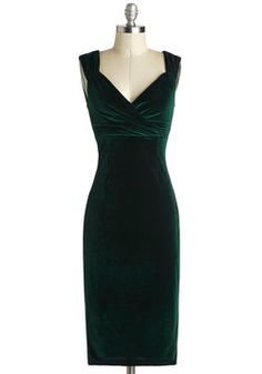 Lady Love Song Dress in Emerald Velvet, #ModCloth