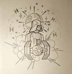 Working on designing a neo-traditional Star Wars themed sleeve. This is just the shoulder linework, more pieces and color will be coming soon.