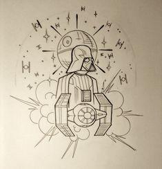 Neo-Traditional Star Wars Shoulder Piece wip by BadFishBenny.deviantart.com on @deviantART