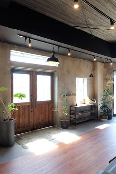 Cafe Design, House Design, Garage, Foyer, Entrance, Doors, Black And White, House Styles, Interior