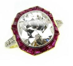 Early 20th century single stone diamond and ruby ring, c.1905. S.J. Philips.