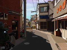 Setagaya_Tokyo Pixel Art by Thibaut Mikos Pixel Art Background, Scenery Background, Favelas Brazil, Arte 8 Bits, Pixel Animation, 8bit Art, Pixel Art Games, Futuristic Art, Aesthetic Gif