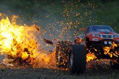 RC Car driving through fire.