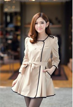 62adcf88a77 KR2930   Sally Fashion Double Breasted Trench Coat, Cheap Clothes, Sammy  Dress, Puff