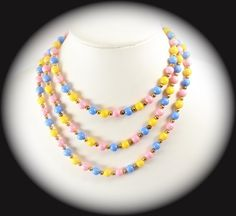 Statement Necklace Long Yellow Pink Blue Gold Acrylic Bead Necklace  Item Cb 100241