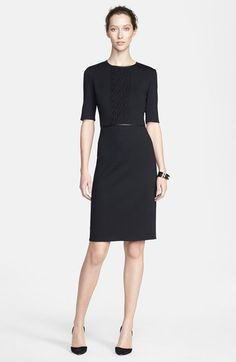 Chic Professional Woman Work Outfit. St. John Collection Elbow Sleeve Milano Knit Dress available at #Nordstrom