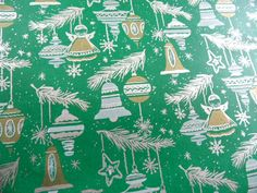 Vintage store Christmas wrapping paper green silver by HandPycd