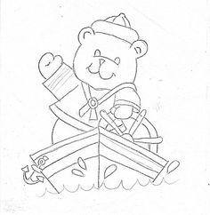 risco do ursinho marinheiro no barco