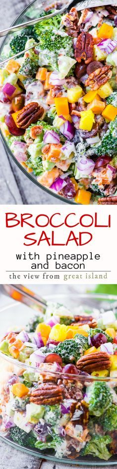 Broccoli Salad with Pineapple, Bacon and Spiced Pecans ~ don't be surprised if everybody skips the main course altogether and heads straight for this salad! This summer classic has an extra burst of sweetness from fresh pineapple, and lots of crunch from bacon and chili rubbed pecans. #spon | summer salad | broccoli salad | recipe| barbecue | picnic | potluck | Memorial Day | 4th of July |