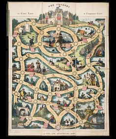 The Journey, or Cross Roads to the Conqueror's Castle. Hand coloured game published in England by William Spooner, 1837 - 1846