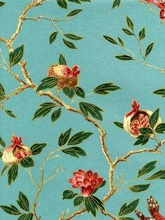 Zoffany wallpaper  'Manchu Turquoise'.