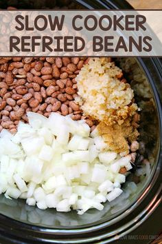 This Slow Cooker Refried Beans recipe is so easy to make! It's the perfect addit… This Slow Cooker Refried Beans recipe is so easy to make! It's the perfect addition to – or side dish for – all of your Mexican dishes. Beans In Crockpot, Crockpot Recipes, Cooking Recipes, Recipe For Refried Beans, Pressure Cooker Refried Beans, Refried Beans Healthy, Mexican Refried Beans, Fudge Recipes, Chef Recipes