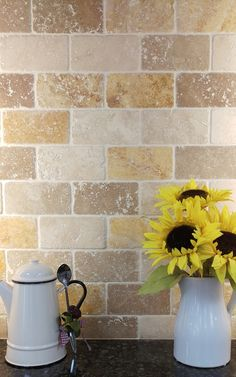 Rustic texture looks great in kitchens, we've mixed the Natural Stone Bricks colours to create this look.