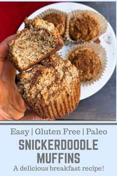 These healthy, paleo, gluten free muffins are so tasty and easy to make! The snickerdoodle flavor is such a classic and so perfect in muffin form. A great healthy breakfast option. Also a good easy meal prep breakfast! Healthy Breakfast Muffins, Healthy Breakfast Options, Healthy Muffin Recipes, Breakfast Dessert, Breakfast Recipes, Paleo Muffin Recipes, Clean Recipes, Healthy Desserts, Free Recipes