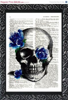 Antique skull victorian blue roses print on an by frenchprints, $6.98
