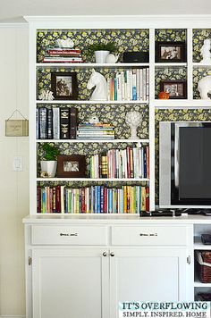 Simple Decorating Tips for Bookshelves -- Lots of Pictures.  @Amber Johnson Overflowing