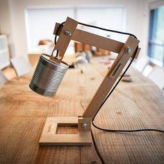 Lámpara escritorio madera bote metal Lámpara por EunaDesigns