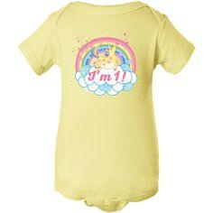 1st Birthday Unicorn Rainbow girls Infant Creeper Banana $14.99 www.homewiseshopperkids.com