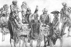 #Voltaire and #Diderot at the Café Procope, 1772. Voltaire lève la main pour imposer le silence. Wikipédia #kiss4emm
