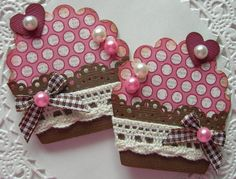Cupcake Embellishments-Set of 2-Vintage Dots on Etsy, $2.99