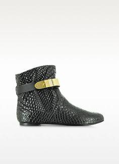 Black Croco Embossed Leather Boot w/Metal Strap - Giuseppe Zanotti