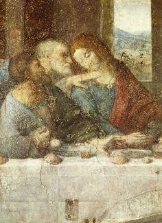 ❤ - LEONARDO DA VINCI (1452 - 1519) - The Last Supper, detail (before restoration - 1498).