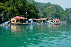 Life in floating village in Halong Bay