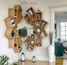 This time we will share interesting book-shelves ideas. Isn't it more awesome if our books are displayed on the book-shelves that decorate the house. Diy Furniture, Furniture Design, Furniture Plans, Creative Bookshelves, Wood Bookshelves, Diy Bookshelf Design, Tree Bookshelf, Wooden Bookcase, Bookshelf Ideas