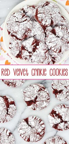Red Velvet Crinkle Cookies - a six-ingredient red velvet cake mix cookie doused in powdered sugar and baked to crinkle superbness; perfect for red velvet enthusiasts. Chocolate Marshmallow Cookies, Chocolate Chip Shortbread Cookies, Toffee Cookies, Spice Cookies, Yummy Cookies, Red Velvet Crinkles, Red Velvet Crinkle Cookies, Red Velvet Cake Mix, Velvet Cupcakes