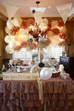 fairy tales do come true bridal shower burlap and lace vintage lace