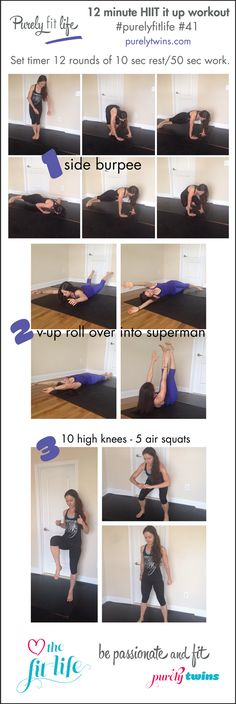 12 minute HIIT it Up workout that is just bodyweight. A workout routine that will get your heart rate up and get you lean and strong. #fitfluential workout with the purelytwins