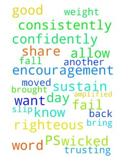 This is such a good word, I want to share it. PS 55:22, - This is such a good word, I want to share it. PS 5522, 23 from the Amplified Bible Zondervan 22 Cast your burden on the Lord release the weight of it and He will sustain you He will never allow the consistently righteous to be moved made to slip, fall, or fail. I Peter 57. This is encouragement to know that when you are consistently righteous God will sustain you and not allow you to fail. 23 But You, O God, will bring down the wicked…
