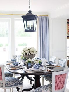 Navy and Pink Dining Room Gallerie B