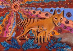 Limited Edition Tasmanian Tiger Painting Girlcee Print by Mirree Contemporary Aboriginal Art Kunst Der Aborigines, Tasmanian Tiger, Tiger Painting, Aboriginal Artists, Tiger Art, Majestic Animals, Wildlife Art, Tribal Art, Colorful Pictures