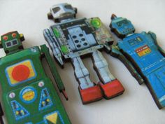 Set of 3 magnets ROBOT  wooden magnets fridge by NewellsJewels, £8.00