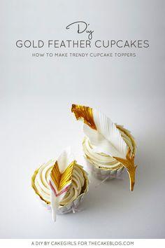 DIY Gold Feather Cupcakes | a cake tutorial by Cakegirls for TheCakeBlog.com
